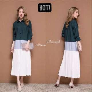 Shirt Pleated Three Block Maxi Dress