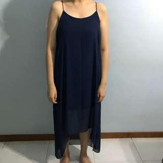 Elegant Navy Blue Long Dress