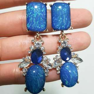 Crystal with Rhinestone Dropped Earrings