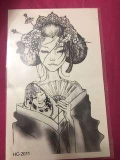 Geisha temporary tattoo sticker
