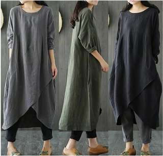 (L~5XL) Fashion cotton linen gown long sleeve round neck pocket asymmetric hem dress