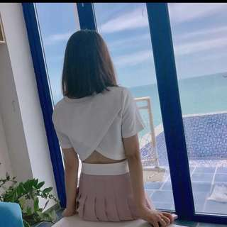 Cross back white top