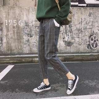 Grid Harem Pants