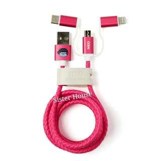 (包郵)🇰🇷Kakao Friends Ribbon Neo Color 3in1 Cable 三合一充電線