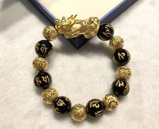 越南20克沙金貔貅手鏈+沙金轉運珠+天然瑪瑙燙金六字真言佛珠