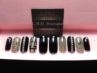 Black swirl fake nails faux nails false nails customize press on nails