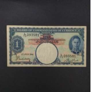 Malaya 1941 King George VI $1 EF