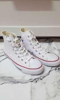 全新白色高筒皮革Converse 24.5號