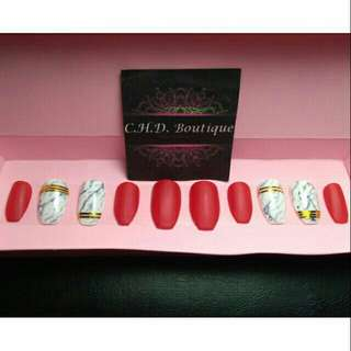 Red marble fake faux false nails customize press on nails