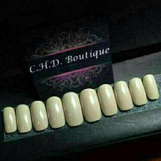 Tan fake faux false nails customize press on nails
