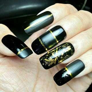 Dark gold fake faux false nails customize press on nails
