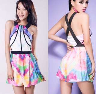 Korean multicolor X back romper