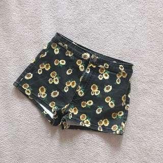 High-waisted Sunflower Shorts