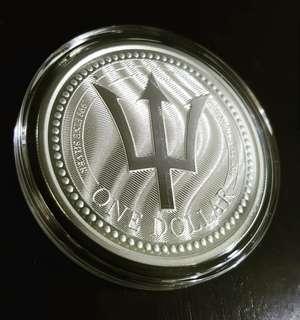 2017 1 oz Barbados Trident Silver Coin (BU)