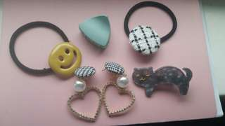 ($4 each, $18 for all)Korea earring and  hair piece