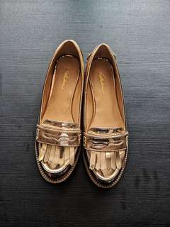 Gold Metallic Penny Loafers