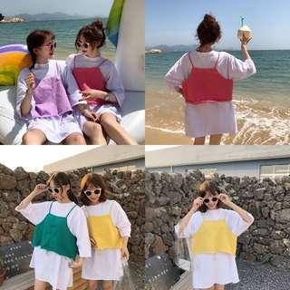 KOREAN slit top and T-shirt dress two piece set