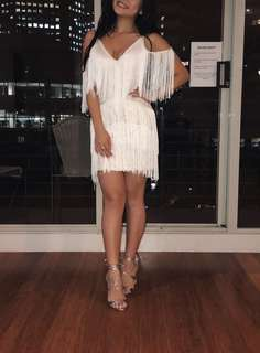 White fringe tassel dress