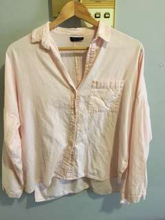 Topshop relaxed fit pink shirt