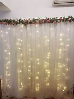White floral backdrop for rent
