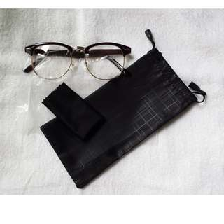 Vintage Glossy Coffee Dark Brown Glasses Eyewear Spectacle Frame Clear lens with Gold Rims