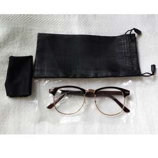 Clubmaster Spectacle Frame Glossy Coffee Brown vintage Eyewear Clear lens with Gold Rims
