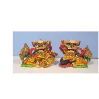 Vintage Chinese Southern Foo Dogs One Pair Cold Cast Resin circa 1990s 8