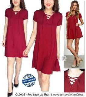 Oldnavy red Lace up short Sleeve Jersey swing dress