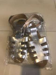 clearance! bn silver gladiator fashion sandals size 36