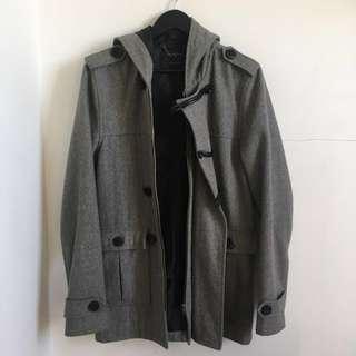 Grey Wool Hooded Coat