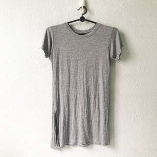 Grey Cotton Slit Top