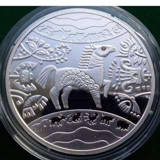 """烏克蘭5 UAH""""馬年""""銀幣,2014年, Ukraine 5 UAH """"Year of the Horse"""" Silver coin , 2014 ,year"""