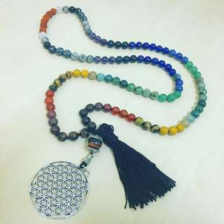 Rainbow chakra crystal mala 108japa necklace