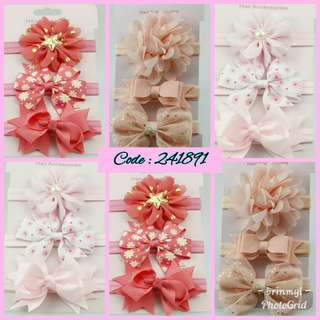 Girls Flower Headband, elastic , 3pcs per set