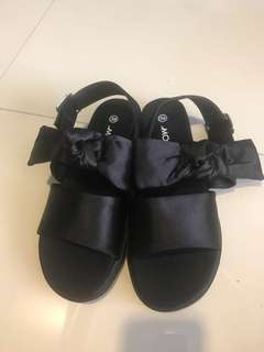 clearance! bn asos monki black sandals with ribbon size 36