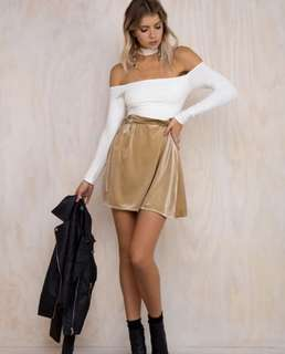 Champagne Velvet Mini Skirt