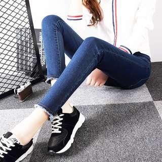 Mono-coloured Korean Style Designed Denim Fringe Skinny Jeans