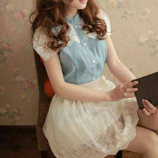 *FREE DELIVERY to WM only / Ready stock* Ladies lace top each as shown design/color blue only. Free delivery is applied for this item.
