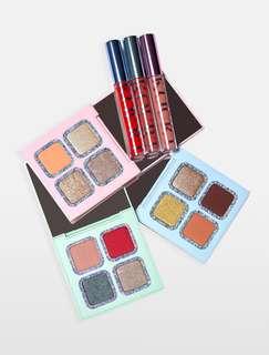 Kourt x Kylie collection: eyeshadow quads and velvet liquid lipsticks - French Kiss, Minnie, Rad, Pink, Blue & Green palette