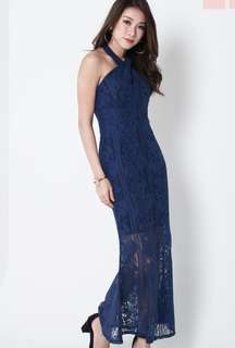 Topazette lace mermaid maxi in navy