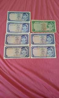 $1 & $5  brunei banknote
