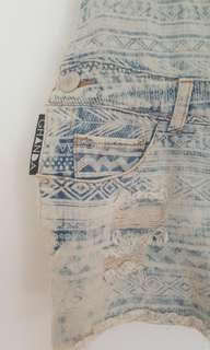Ghanda Distressed Patterned Short Dungarees Size AU Small