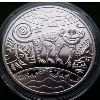 "烏克蘭5 UAH農曆""猴年""硬幣與寶石,2015年 Ukraine 5 UAH Lunar ""Year of the Monkey"" Coin with Rubies,2015 year"