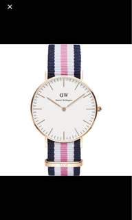 Daniel Wellington 36mm white classic pink navy white NATO