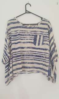 Levis San Fransisco Waterfall Batwing Blue Striped T-shirt  Size Medium