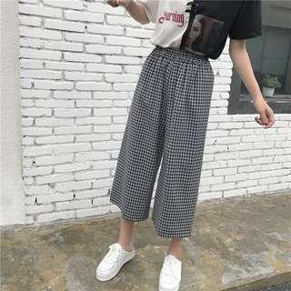 Checkered Plaid Elastic Waist Wide Legs Trendy Culottes