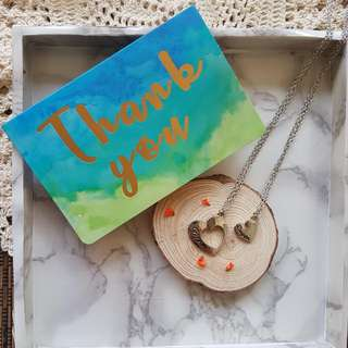 Mother And Daughter Heart Pendant Necklaces With Handmade Thank You Card And/Or Dried Flowers