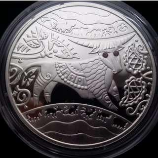 烏克蘭5 UAH牛年銀幣與寶石,2009年, Ukraine 5 UAH Lunar Year of the Ox Silver Coin with Rubies,2009 year