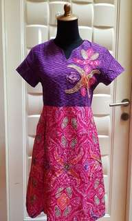 Batik dress pink purple