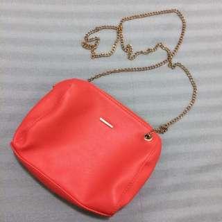 bershka orange chain shoulder bag